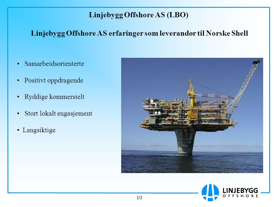 Linjebygg Offshore AS (LBO) Linjebygg Offshore AS erfaringer som leverandør til Norske Shell