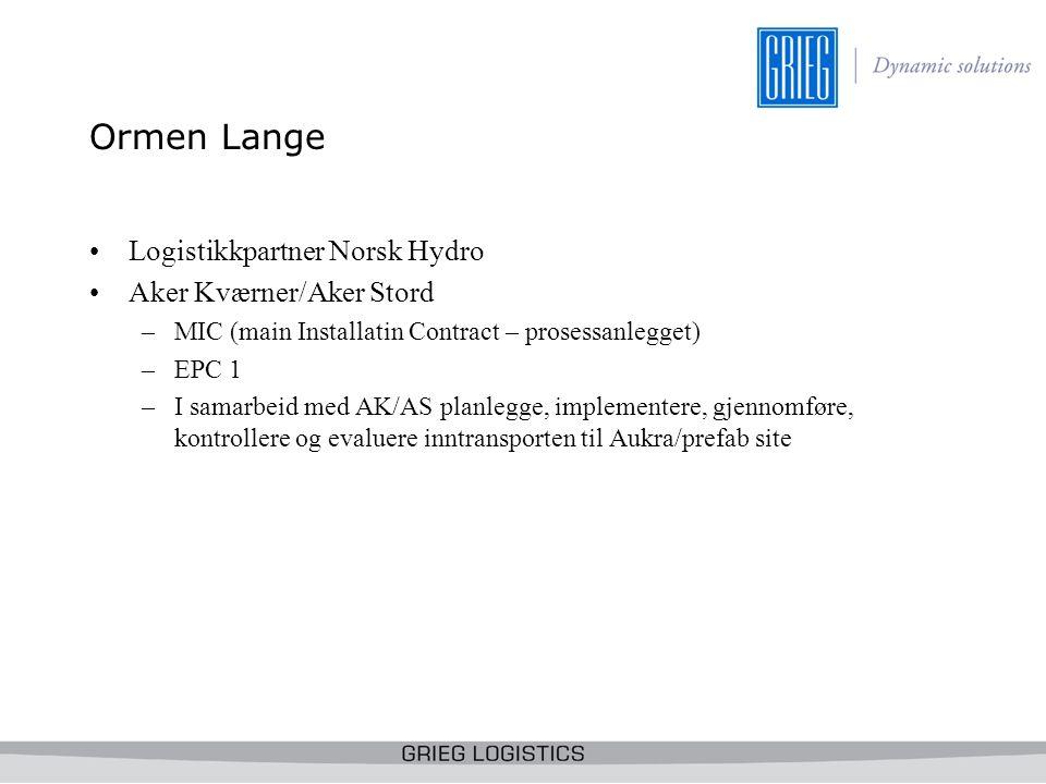 Ormen Lange Logistikkpartner Norsk Hydro Aker Kværner/Aker Stord