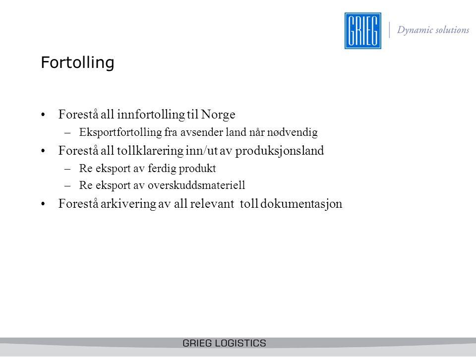 Fortolling Forestå all innfortolling til Norge