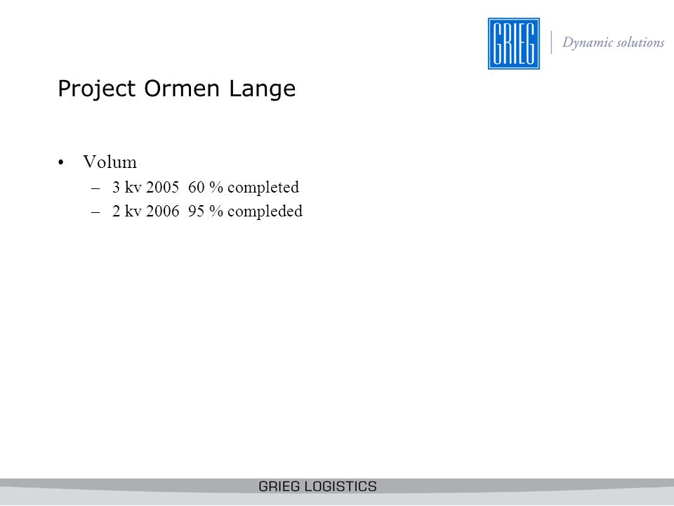 Project Ormen Lange Volum 3 kv 2005 60 % completed