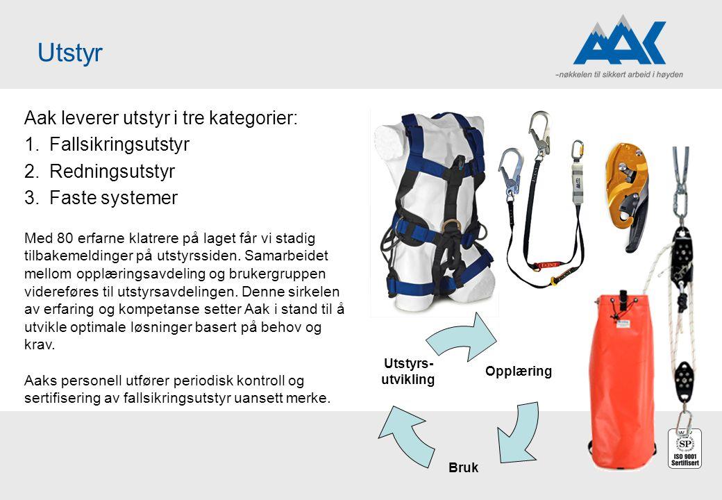 Utstyr Aak leverer utstyr i tre kategorier: Fallsikringsutstyr