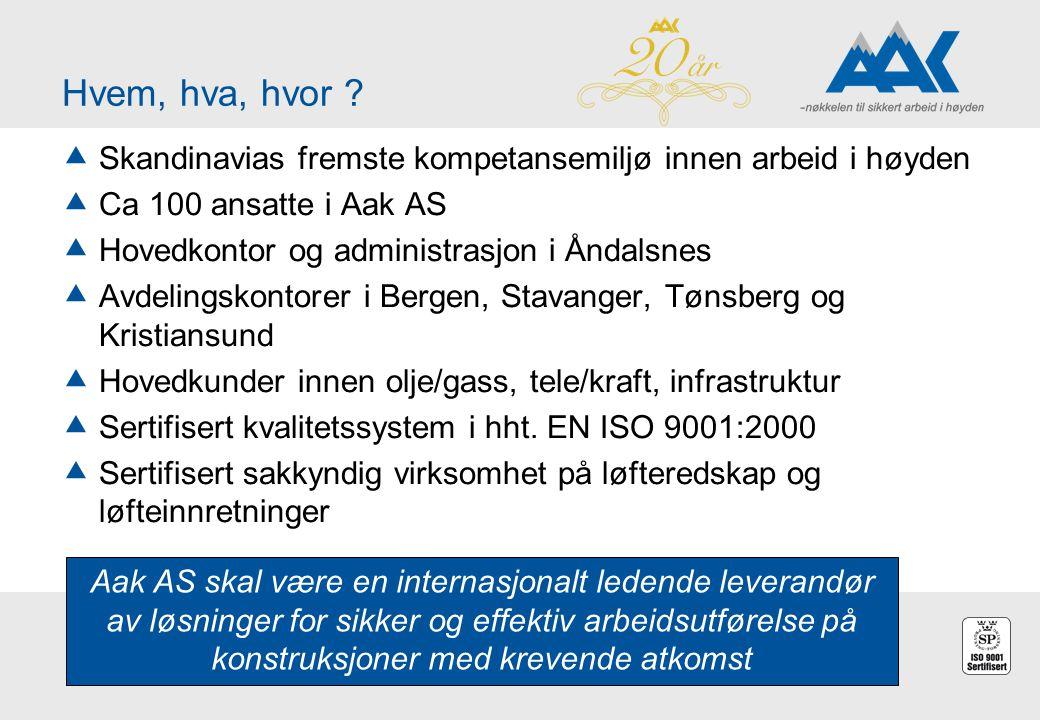Hvem, hva, hvor Skandinavias fremste kompetansemiljø innen arbeid i høyden. Ca 100 ansatte i Aak AS.