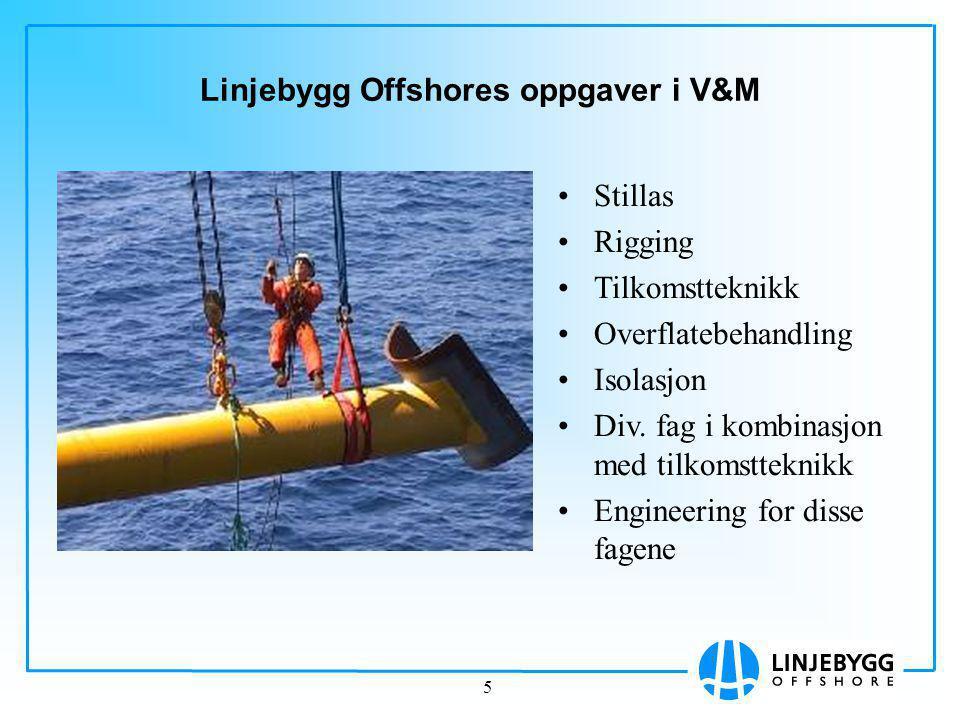 Linjebygg Offshores oppgaver i V&M
