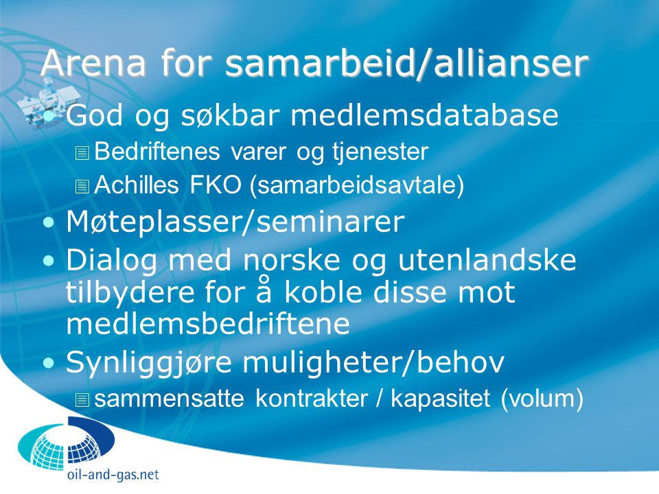 Arena for samarbeid/allianser
