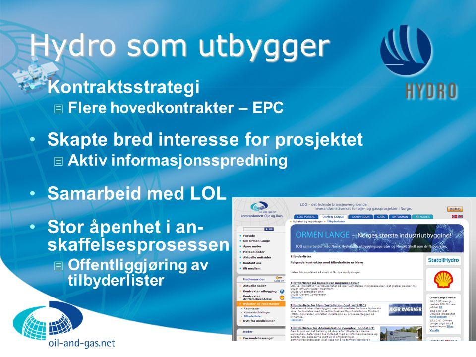 Hydro som utbygger Kontraktsstrategi