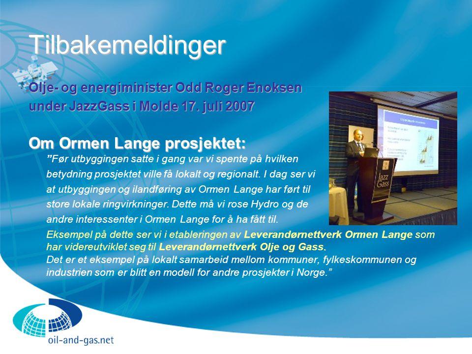 Tilbakemeldinger Olje- og energiminister Odd Roger Enoksen. under JazzGass i Molde 17. juli 2007.