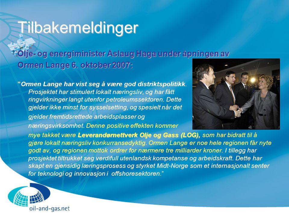 Tilbakemeldinger Olje- og energiminister Åslaug Haga under åpningen av