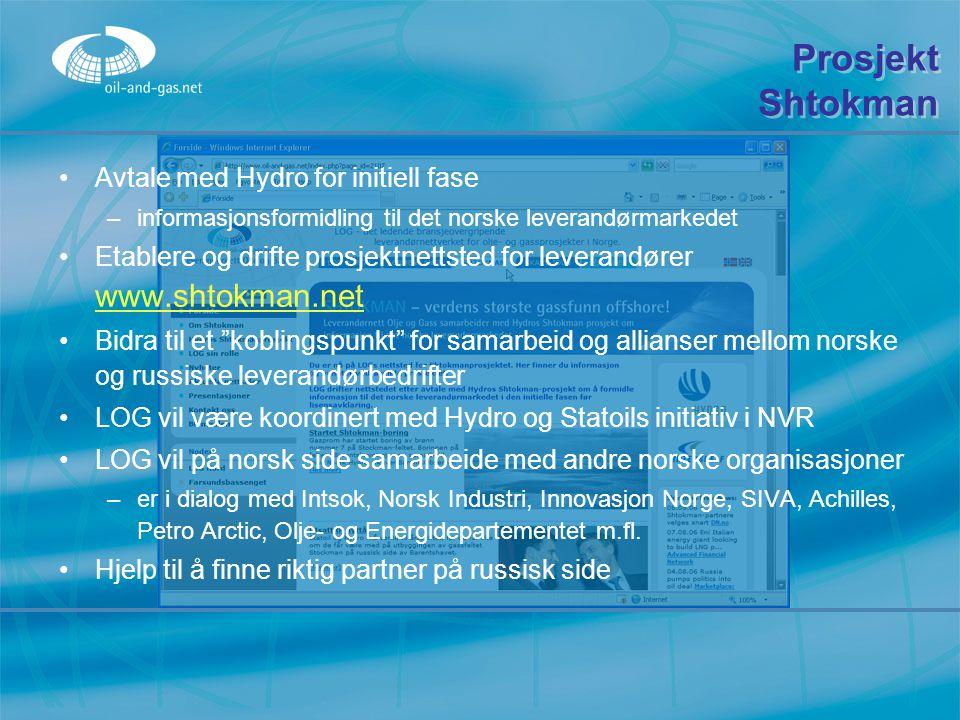 Prosjekt Shtokman Avtale med Hydro for initiell fase
