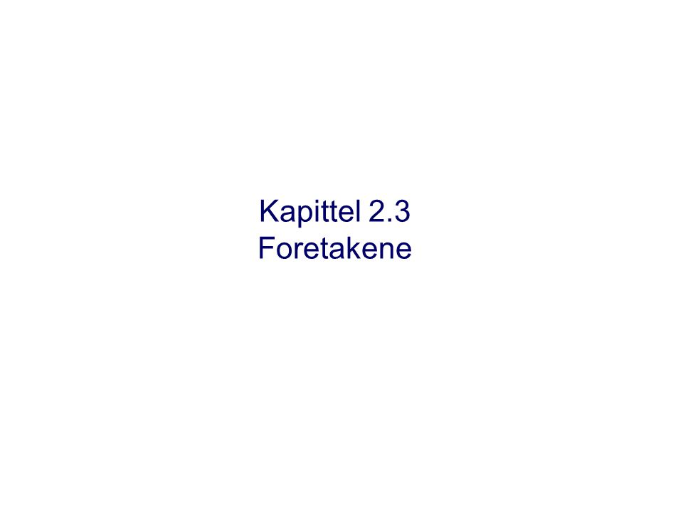 Kapittel 2.3 Foretakene