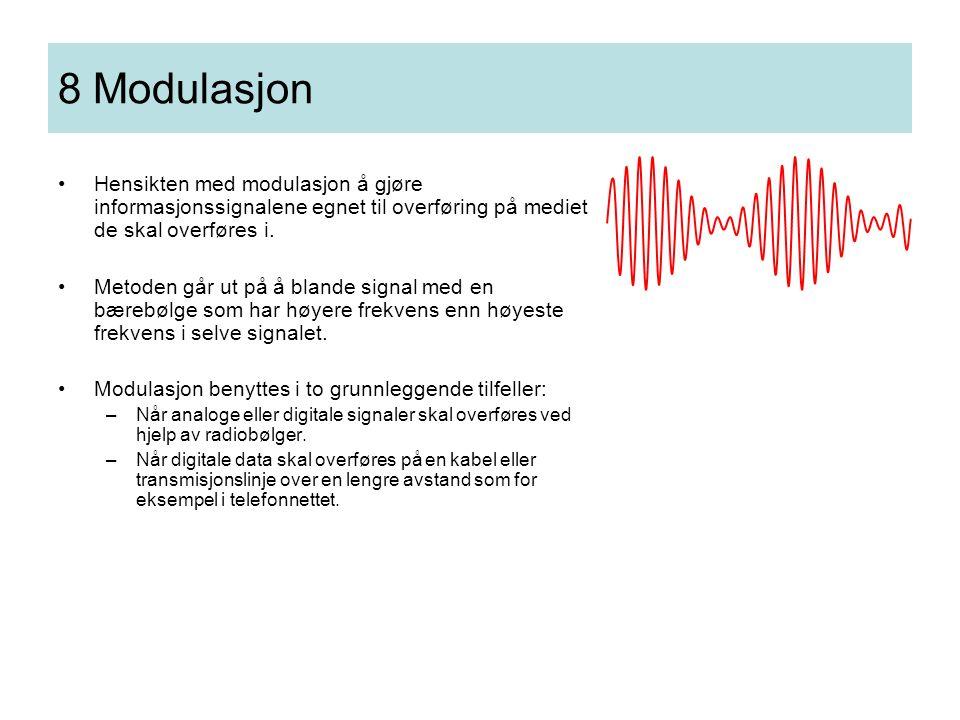 8 Modulasjon Hensikten med modulasjon å gjøre informasjonssignalene egnet til overføring på mediet de skal overføres i.