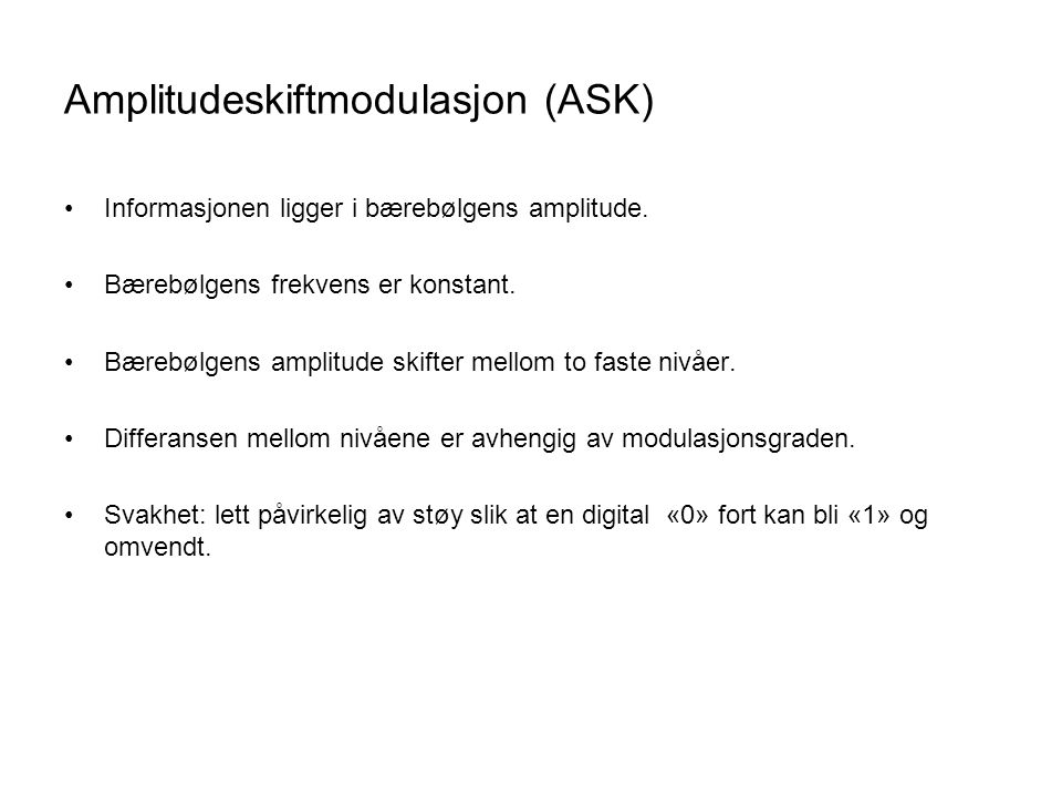 Amplitudeskiftmodulasjon (ASK)