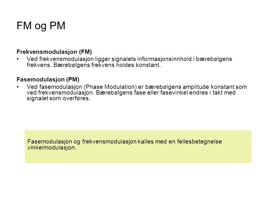 FM og PM Frekvensmodulasjon (FM)