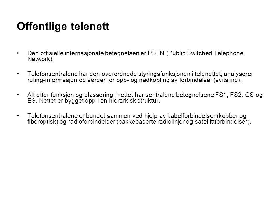 Offentlige telenett Den offisielle internasjonale betegnelsen er PSTN (Public Switched Telephone Network).