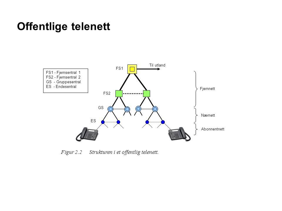 Offentlige telenett Figur 2.2 Strukturen i et offentlig telenett.