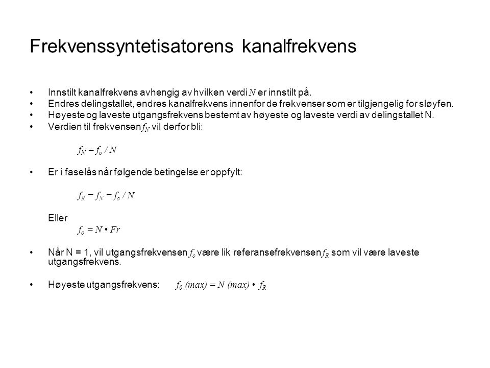 Frekvenssyntetisatorens kanalfrekvens