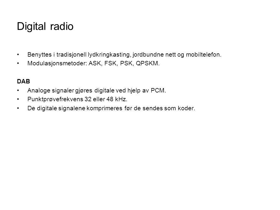 Digital radio Benyttes i tradisjonell lydkringkasting, jordbundne nett og mobiltelefon. Modulasjonsmetoder: ASK, FSK, PSK, QPSKM.