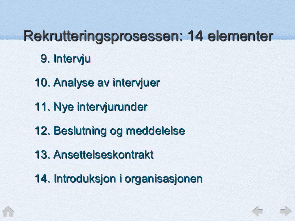Rekrutteringsprosessen: 14 elementer