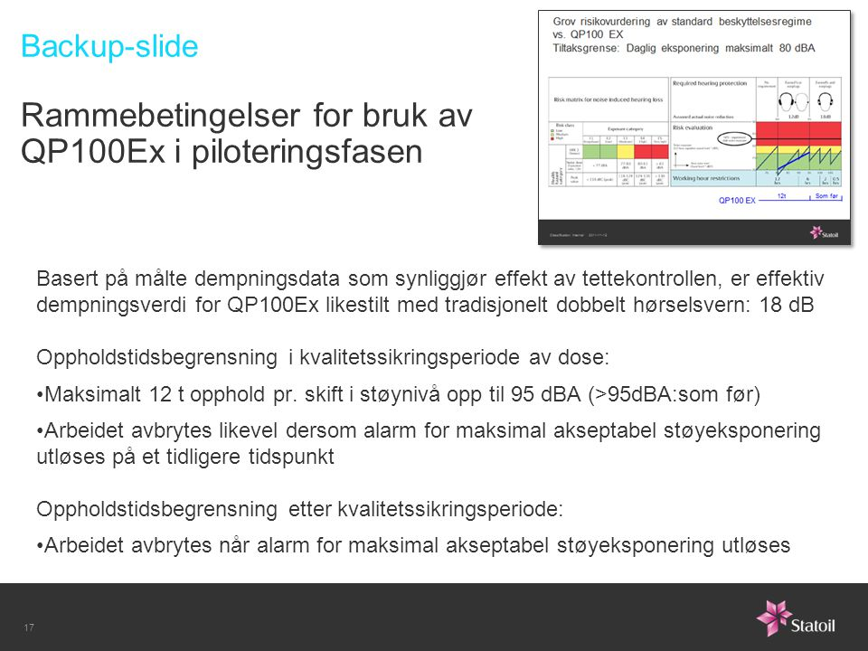 Backup-slide Rammebetingelser for bruk av QP100Ex i piloteringsfasen