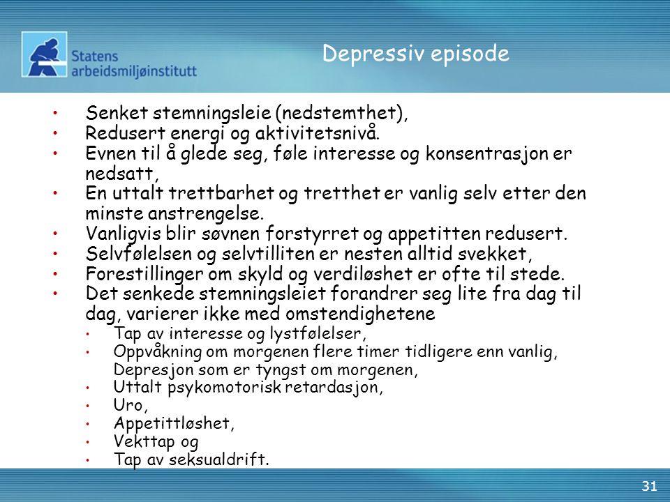 Depressiv episode Senket stemningsleie (nedstemthet),