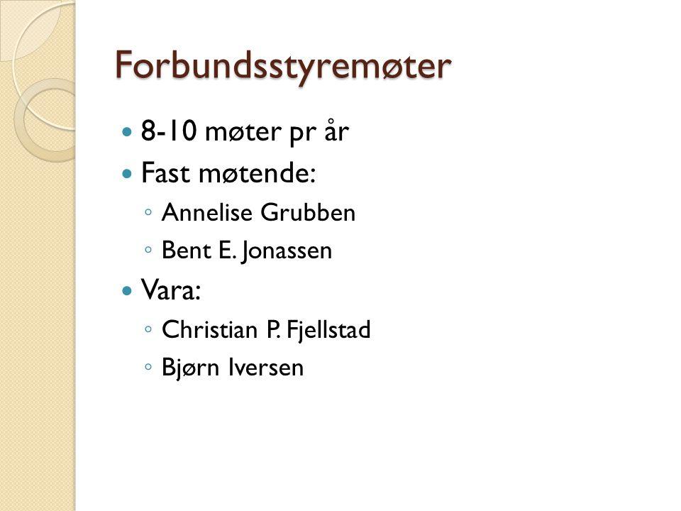 Forbundsstyremøter 8-10 møter pr år Fast møtende: Vara: