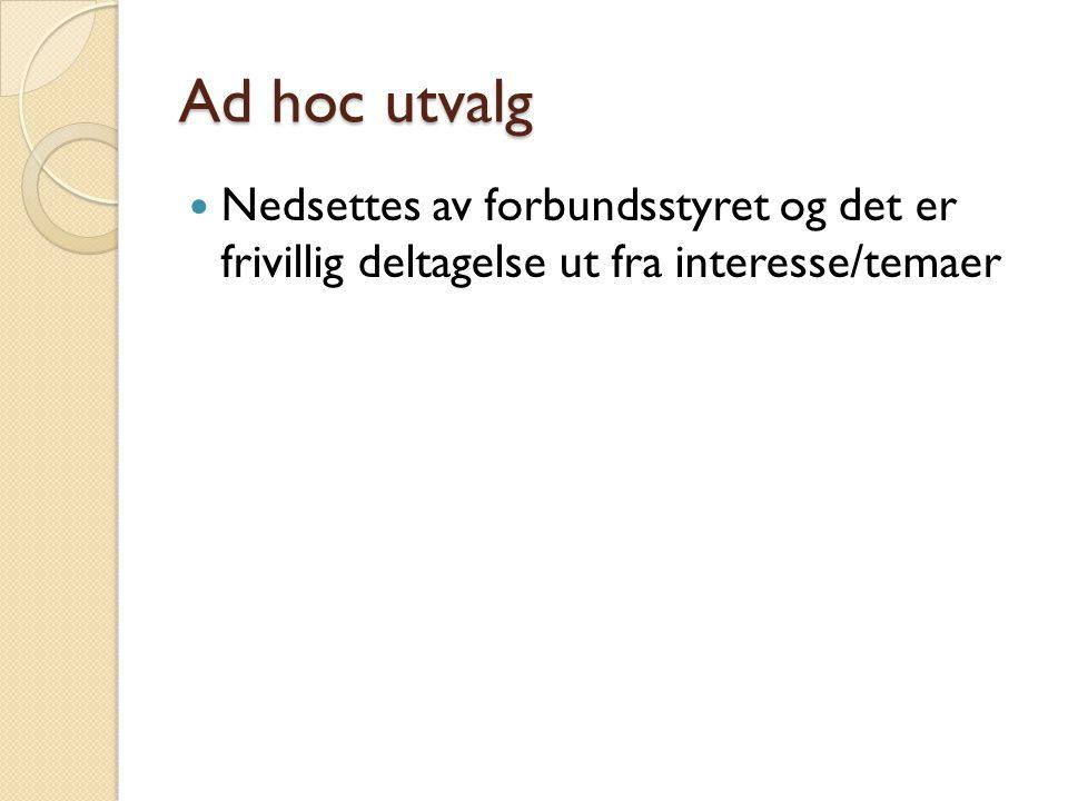 Ad hoc utvalg Nedsettes av forbundsstyret og det er frivillig deltagelse ut fra interesse/temaer