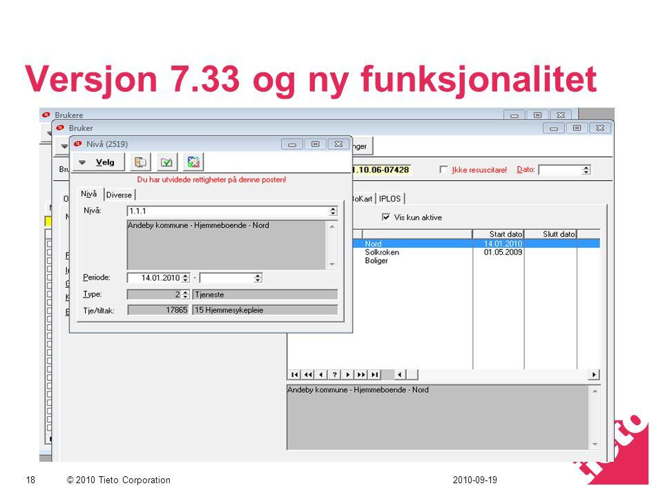Versjon 7.33 og ny funksjonalitet