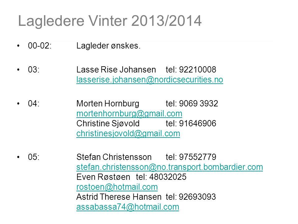 Lagledere Vinter 2013/2014 00-02: Lagleder ønskes.