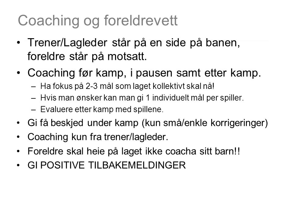Coaching og foreldrevett