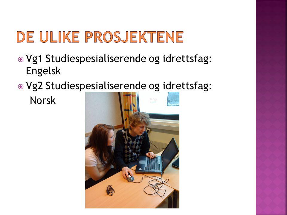 De ulike prosjektene Vg1 Studiespesialiserende og idrettsfag: Engelsk
