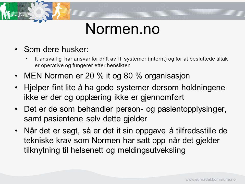 Normen.no Som dere husker: MEN Normen er 20 % it og 80 % organisasjon