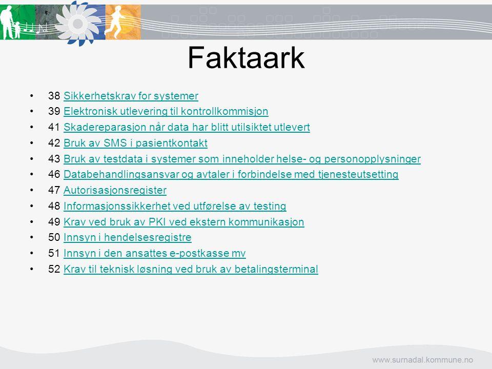 Faktaark 38 Sikkerhetskrav for systemer 