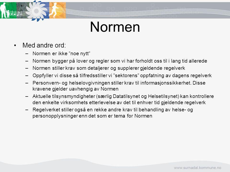 Normen Med andre ord: Normen er ikke noe nytt