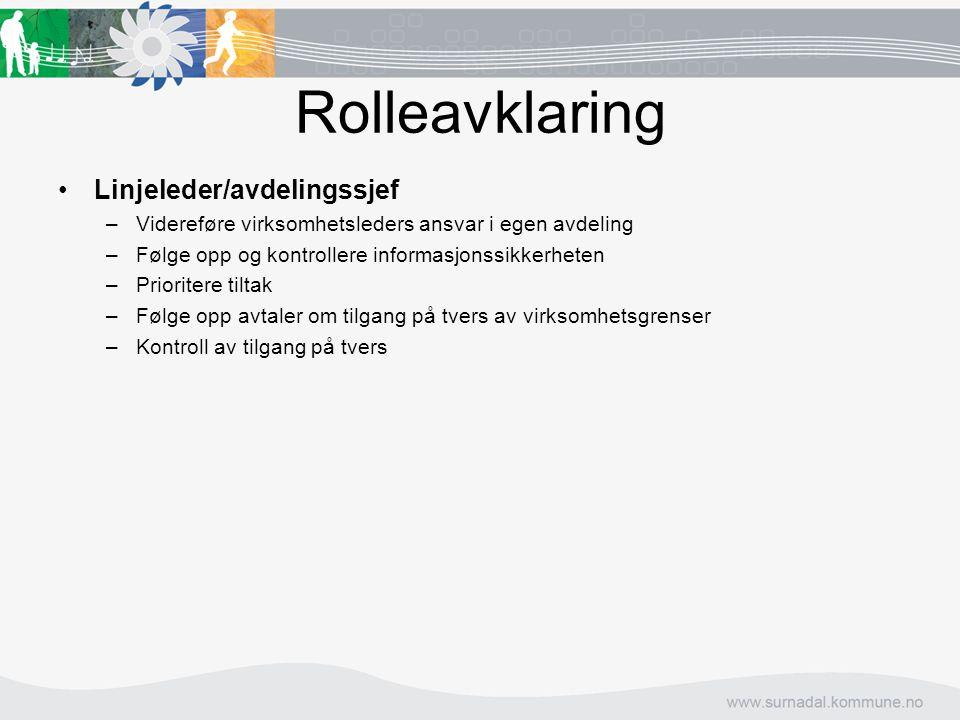 Rolleavklaring Linjeleder/avdelingssjef