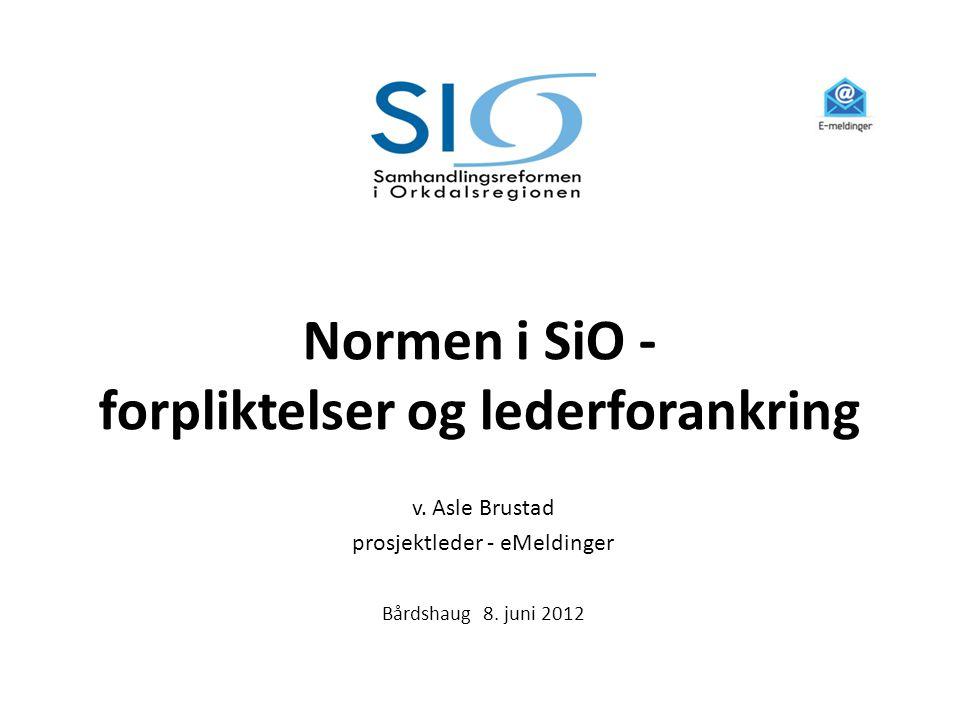 Normen i SiO - forpliktelser og lederforankring