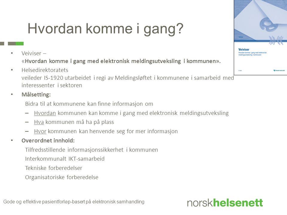 Hvordan komme i gang Veiviser – «Hvordan komme i gang med elektronisk meldingsutveksling i kommunen».