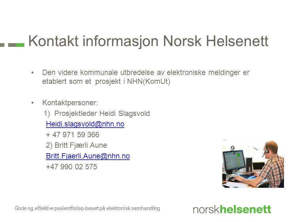 Kontakt informasjon Norsk Helsenett