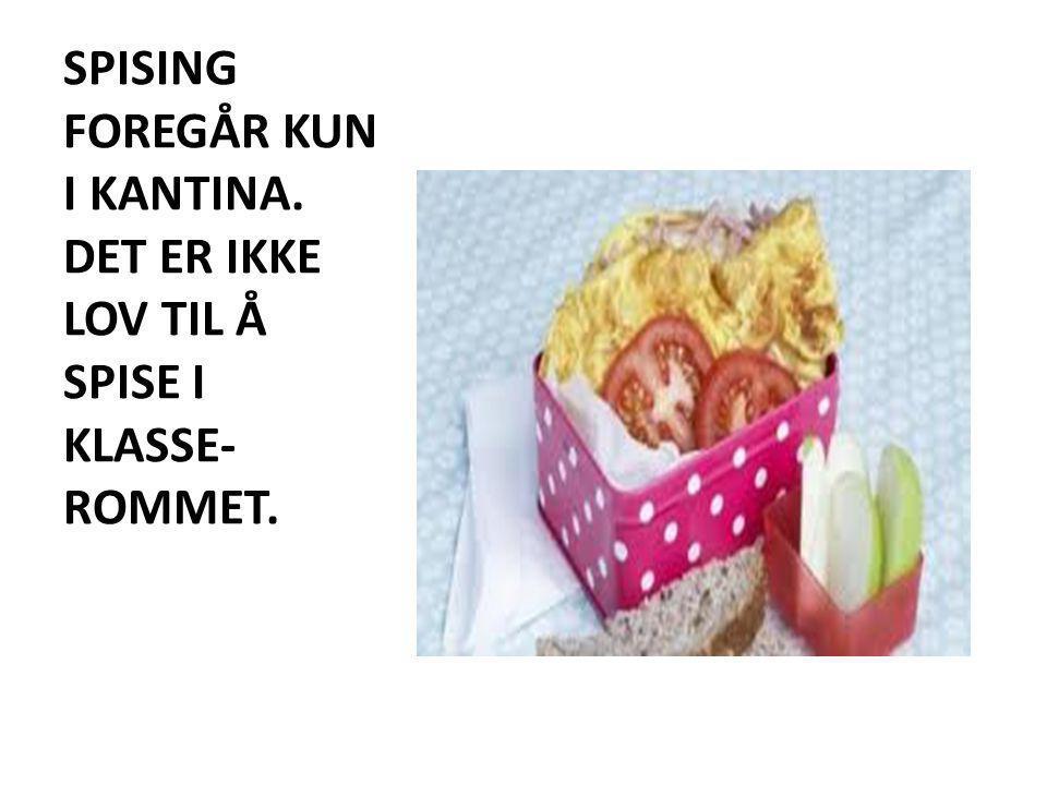 SPISING FOREGÅR KUN I KANTINA