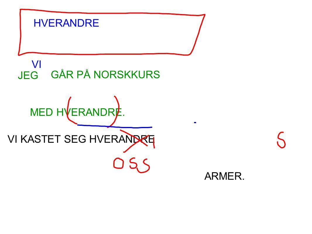 HVERANDRE VI JEG GÅR PÅ NORSKKURS MED HVERANDRE. VI KASTET SEG HVERANDRE ARMER.