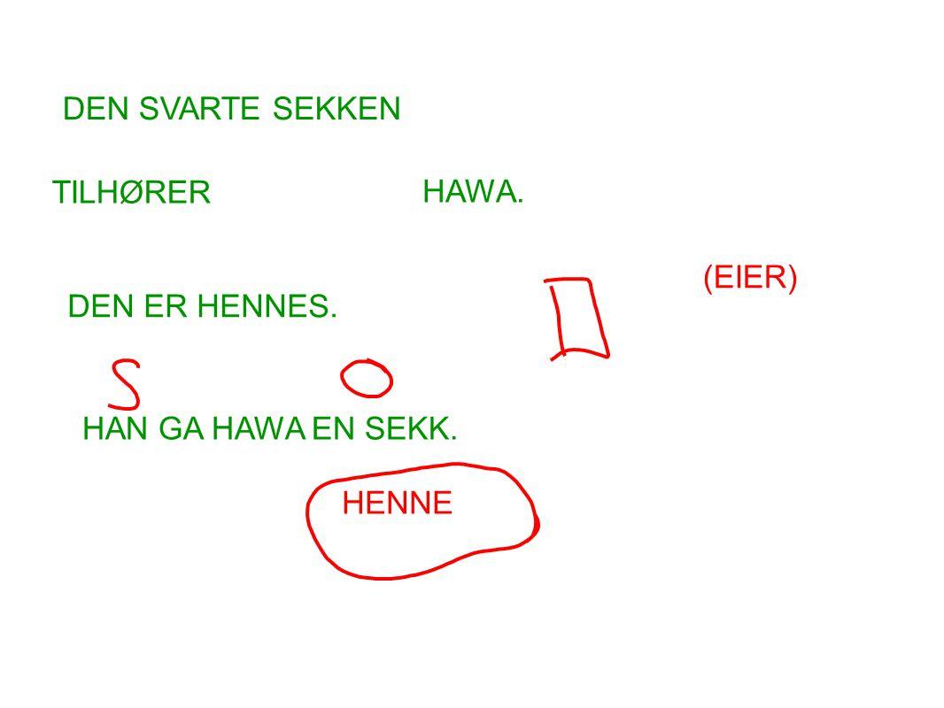 DEN SVARTE SEKKEN TILHØRER HAWA. (EIER) DEN ER HENNES. HAN GA HAWA EN SEKK. HENNE