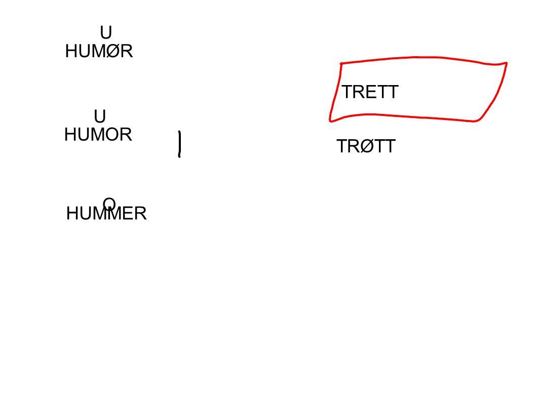 U HUMØR TRETT U HUMOR TRØTT O HUMMER