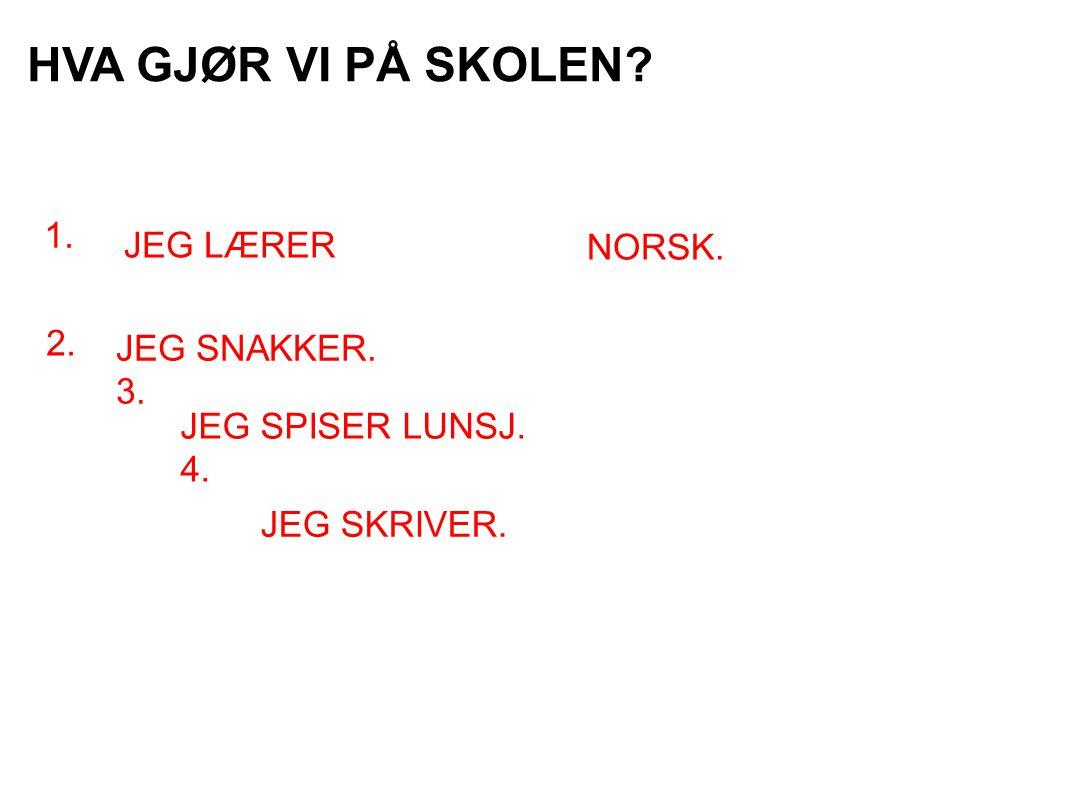 HVA GJØR VI PÅ SKOLEN 1. JEG LÆRER NORSK. 2. JEG SNAKKER. 3.