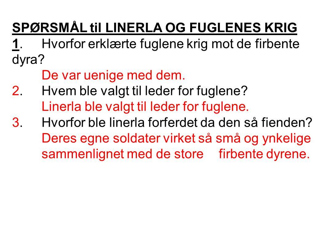 SPØRSMÅL til LINERLA OG FUGLENES KRIG