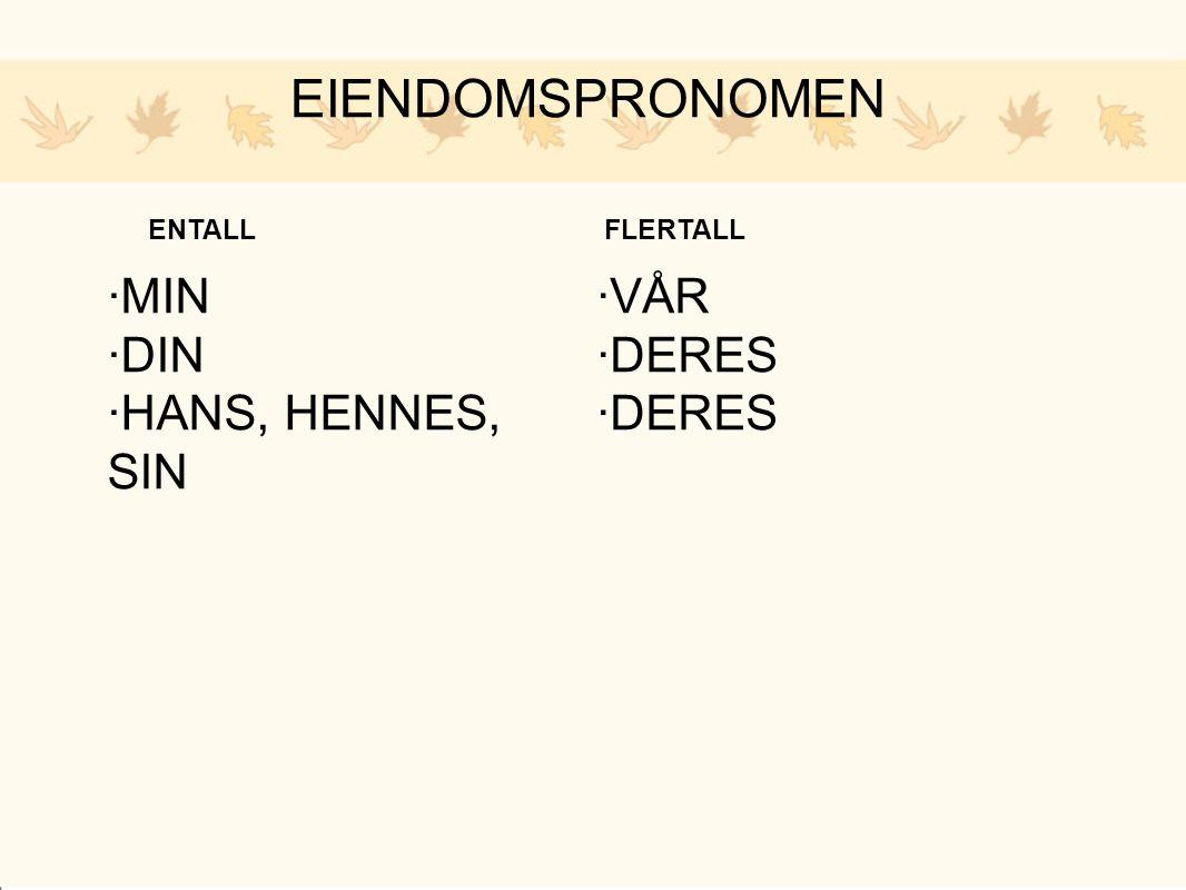 EIENDOMSPRONOMEN ·MIN ·DIN ·HANS, HENNES, SIN ·VÅR ·DERES ENTALL