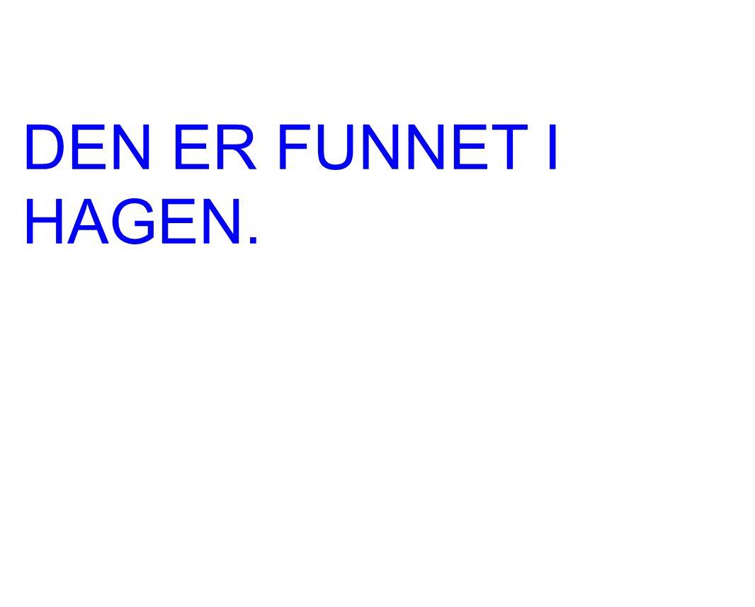 DEN ER FUNNET I HAGEN.