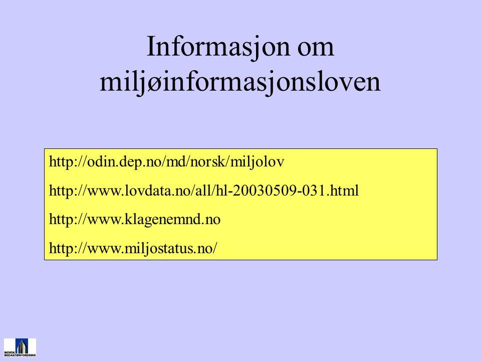 Informasjon om miljøinformasjonsloven