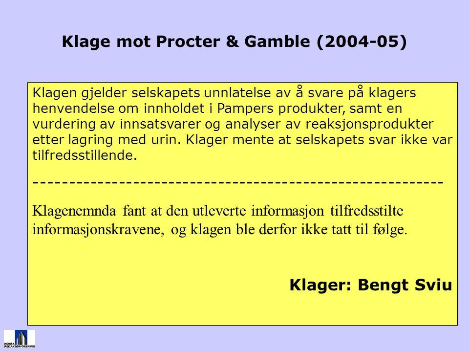 Klage mot Procter & Gamble (2004-05)