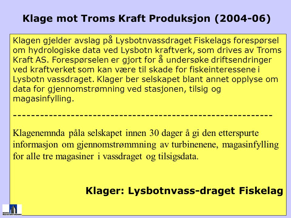 Klage mot Troms Kraft Produksjon (2004-06)