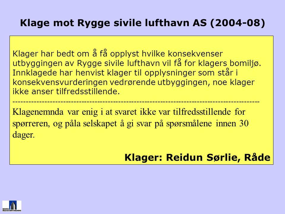 Klage mot Rygge sivile lufthavn AS (2004-08)