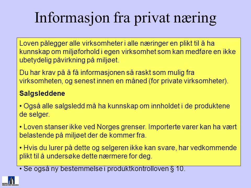 Informasjon fra privat næring