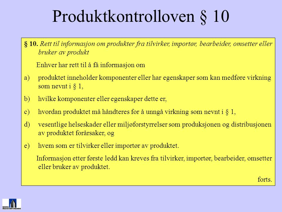 Produktkontrolloven § 10